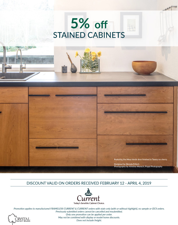5% off STAINED CABINETS